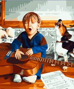 Little Boy Holding Guitar paint by numbers