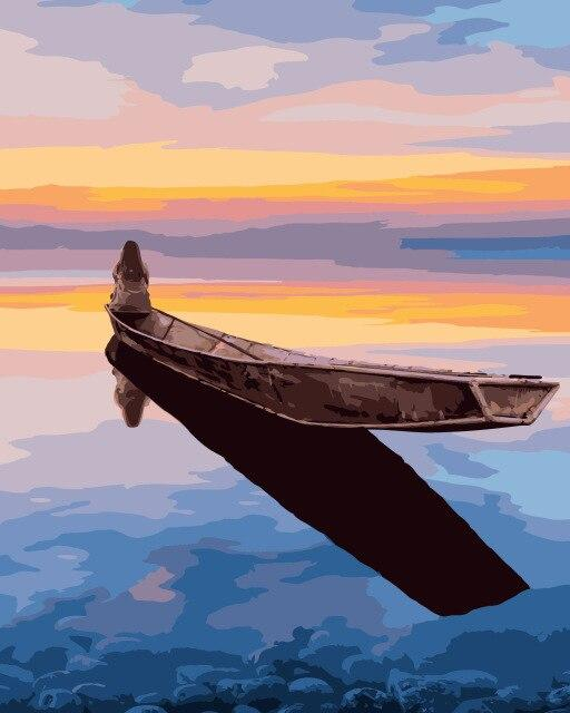 Lonely Women Sitting On A Boat paint by numbers
