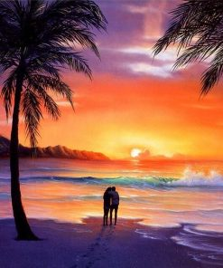 Lovers in Beach Sunset paint by numbers