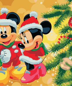 Mickey And Minnie Christmas paint by numbers