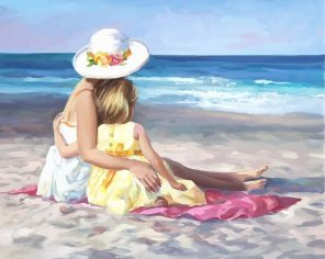 Mother and Daughter In Beach paint by numbers