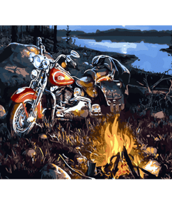 Motorcycle In Forest paint by numbers