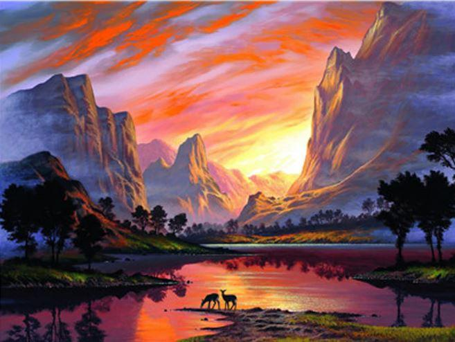 Mountain Red Sunset paint by numbers
