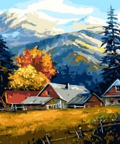 Mountain farm paint by numbers