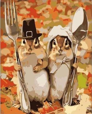 Mr and Mrs Squirrel paint by numbers