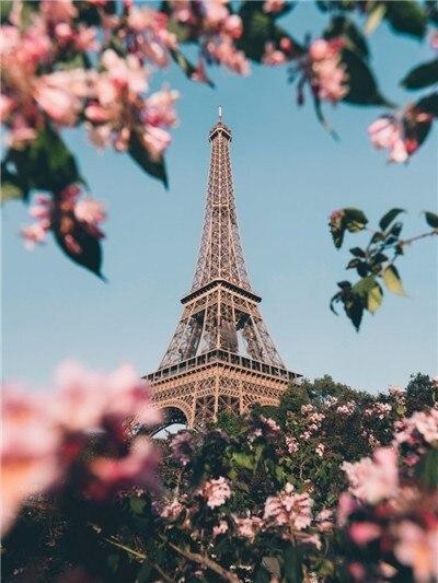 Paris Eiffel Tower In Spring paint by numbers