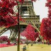 Paris Eiffel Tower Red Trees paint by numbers