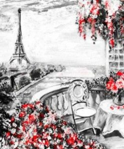 Paris Eiffel Tower in Black and Red paint by numbers
