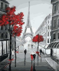 Paris Street View in Black and Red paint by numbers