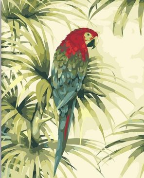Parrot With Red Head paint by numbers