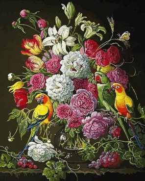 Parrot in Roses paint by numbers