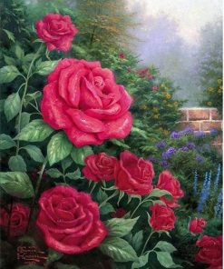 Pink Roses In Garden paint by numbers