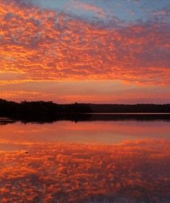 Pink Sky Reflection on Lake paint by numbers