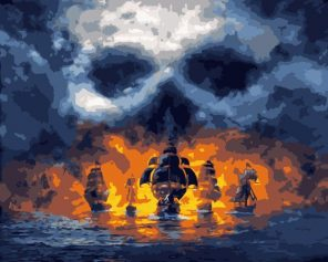 Pirate Ships at Sea paint by numbers