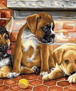 Puppies With A Tennis Ball paint by numbers