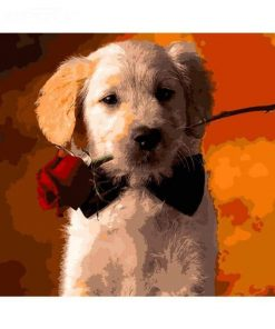 Puppy Holding a Rose paint by numbers