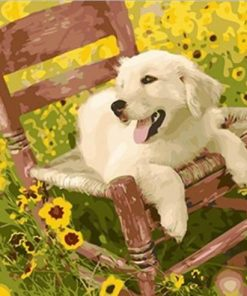 Puppy on a Chair paint by numbers