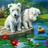 Pups on a Lake paint by numbers