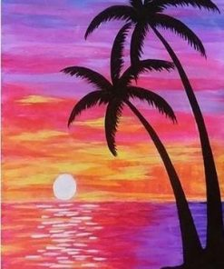 Purple Beach Sunset paint by numbers