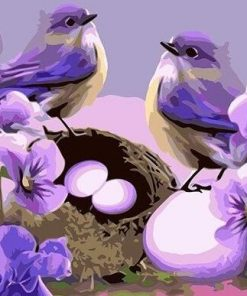 Purple Birds paint by numbers