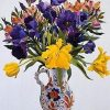 Purple and Yellow Flowers In A Jug paint by numbers