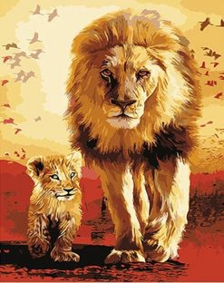 Lions Familly  Painting - DIY Paint By Numbers - Numeral Paint