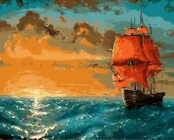 Painting Boat Sailing Oil Painting - DIY Paint By Numbers - Numeral Paint