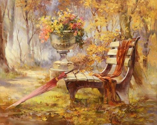 Chair Park Autumn Landscape City - DIY Paint By Numbers - Numeral Paint