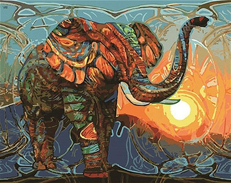 Elephant Animals - DIY Paint By Numbers - Numeral Paint