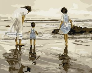 Family Seascape Handpainted - DIY Paint By Numbers - Numeral Paint