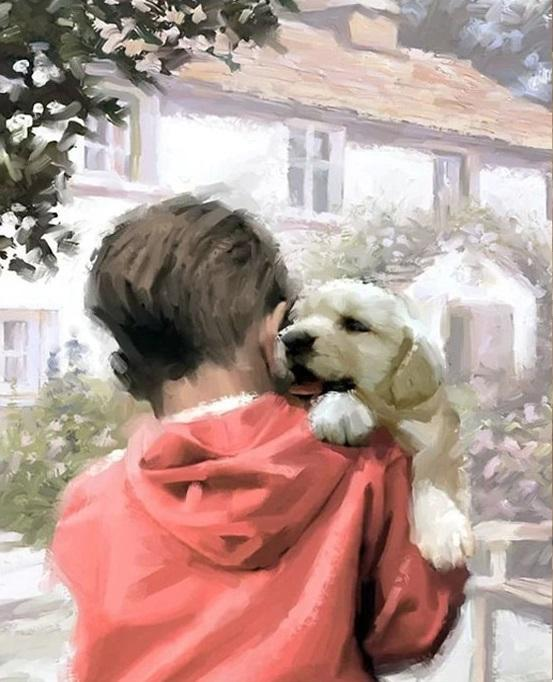 Boy And Dog - DIY Paint By Numbers - Numeral Paint