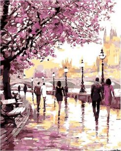Cherry Blossoms Road Kits Wall Art Picture - DIY Paint By Numbers - Numeral Paint