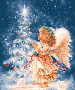 Christmas Angel Calligraphy Painting Landscape - DIY Paint By Numbers - Numeral Paint