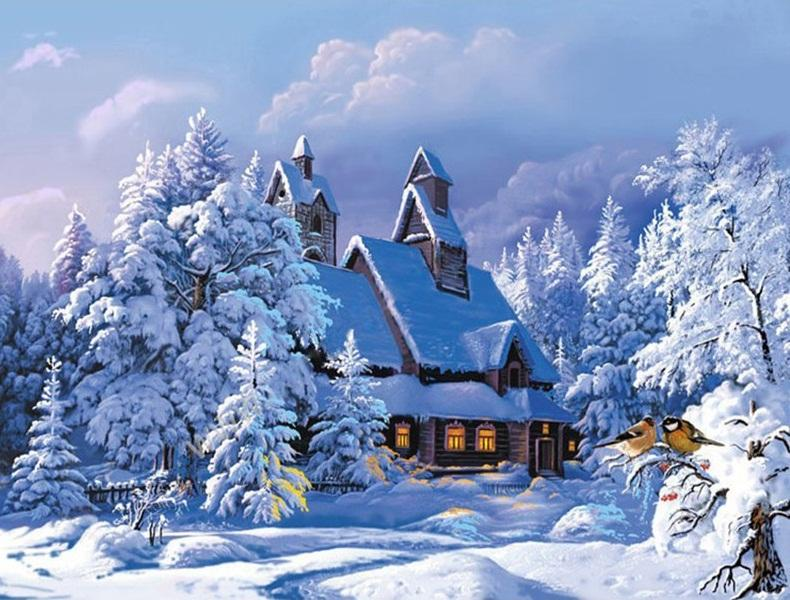 Winter Snow Landscape Drawing Canvas Picture DIY Paint Set by Numbers Kits Decor
