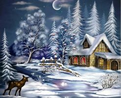 Christmas Snow Night - DIY Paint By Numbers - Numeral Paint