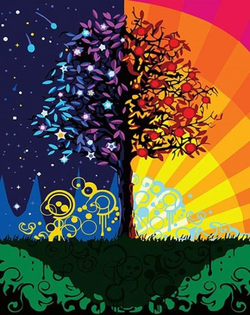 Colorful Tree - DIY Paint By Numbers - Numeral Paint