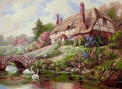 Countryside House Landscape  - DIY Paint By Numbers - Numeral Paint