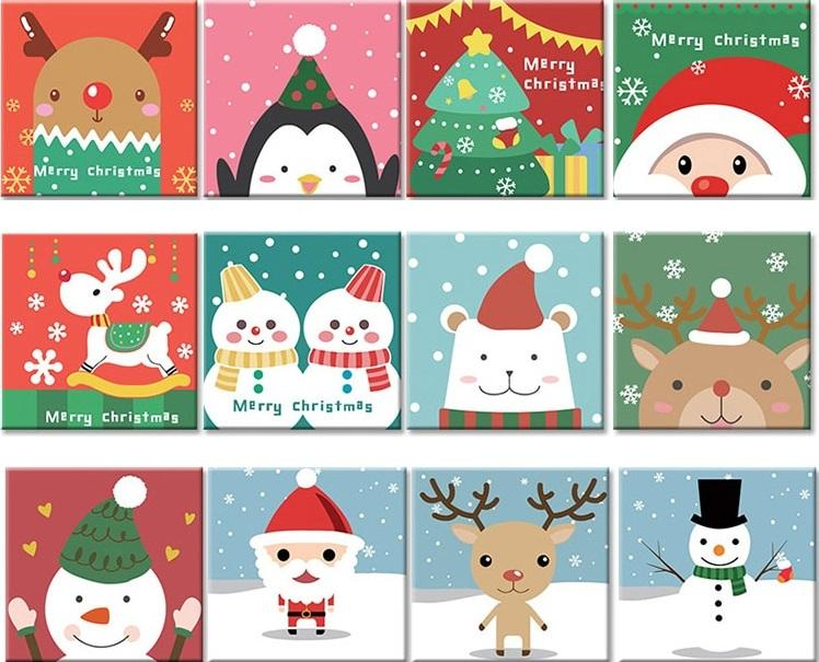 Cartoon Christmas Animals Paint By Numbers Numeral