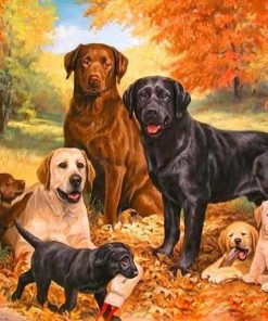 Dogs Family Painting- DIY Paint By Numbers - Numeral Paint