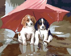 Double Dog Animals Children - DIY Paint By Numbers - Numeral Paint