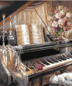 Europe Piano Hand painted Oil Painting- DIY Paint By Numbers - Numeral Paint