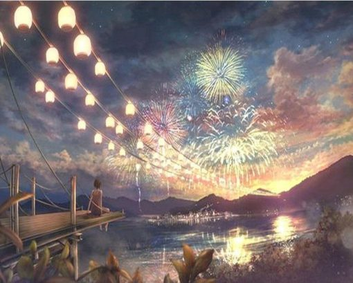 Fireworks At Nights - DIY Paint By Numbers - Numeral Paint
