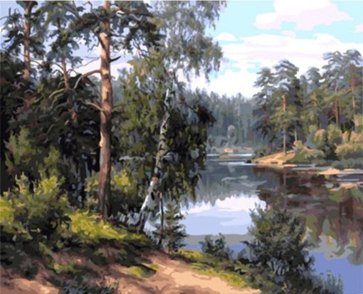 Forest River Landscape - DIY Paint By Numbers - Numeral Paint