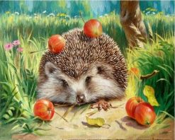 Hedgehog Wall Art Picture Canvas Painting - DIY Paint By Numbers - Numeral Paint