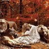 Lion And Girsl Animals - DIY Paint By Numbers - Numeral Paint