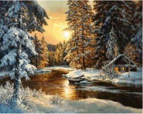 Picture Sunset Snow Landscape  - DIY Paint By Numbers - Numeral Paint