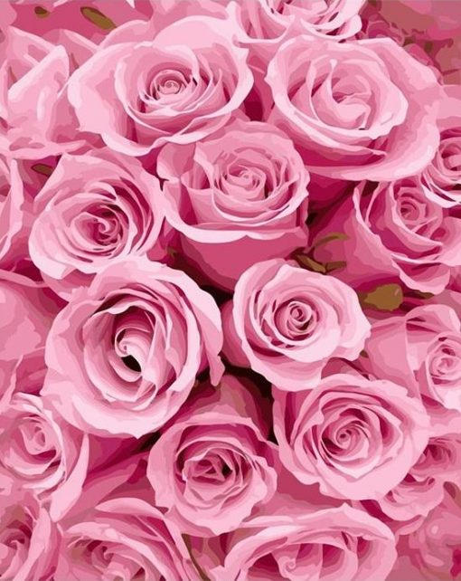 Pink Rose Painting- DIY Paint By Numbers - Numeral Paint