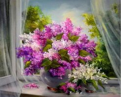 Purple Flowers Kits Modern Wall Art - DIY Paint By Numbers - Numeral Paint