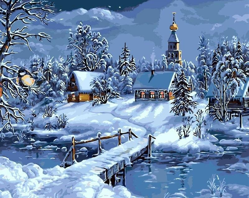 Christmas Snow Landscape - DIY Paint By Numbers - Numeral Paint