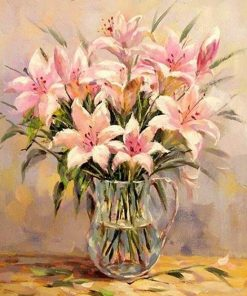 Pink Lily Flower - DIY Paint By Numbers - Numeral Paint